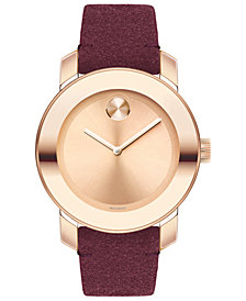 Movado Women's Swiss BOLD Red Suede Strap Watch 36mm