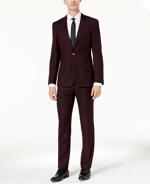 7c7929a6478 Hugo Boss HUGO Men s Slim-Fit Burgundy Micro-Grid Suit   Reviews ...