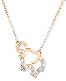 Diamond Elephant Pendant Necklace (1/10 ct. t.w.) in 10k Gold