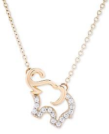 Diamond Elephant Pendant Necklace (1/10 ct. t.w.) in 10k Gold
