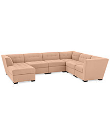 Roxanne II Performance Fabric 6-Pc. Modular Sofa with Chaise - Custom Colors, Created for Macy's