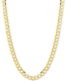 "18"" Two-Tone Open Curb Link Chain Necklace (3-1/6mm) in Solid 14k Gold & White Gold"