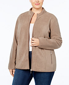 Karen Scott Plus Size Zeroproof Fleece Jacket, Created for Macy's