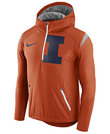 Nike Men's Illinois Fighting Illini Fly-Rush Quarter-Zip Hoodie