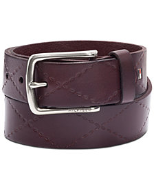 Tommy Hilfiger Men's Leather Cross-Stitch Belt