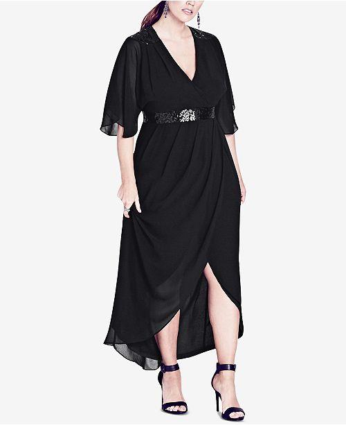 City Chic Trendy Plus Size Sequined Wrap Maxi Dress