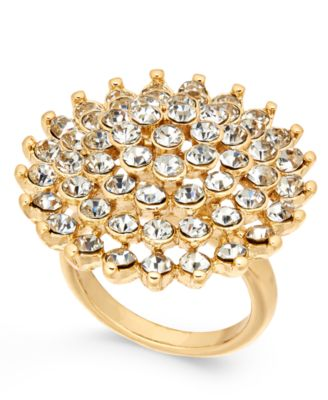 INC GoldTone Pav Flower Ring Created for Macys Jewelry