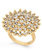 I.N.C. Gold-Tone Pavé Flower Ring, Created for Macy's