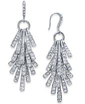 I.N.C. Silver-Tone Sticks and Stones Pavé Shaky Drop Earrings, Created for Macy's