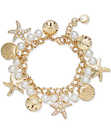 Charter Club Gold-Tone Imitation Pearl Sea Motif Bracelet, Created for Macy's