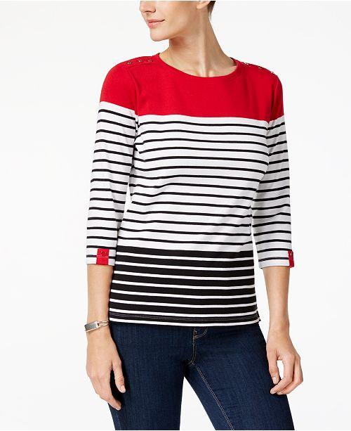 Karen Scott Colorblock Striped T Shirt, Created for Macy's