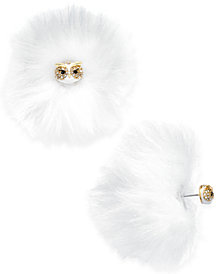 kate spade new york Gold-Tone Pavé Owl & Faux Fur Reversible Earrings