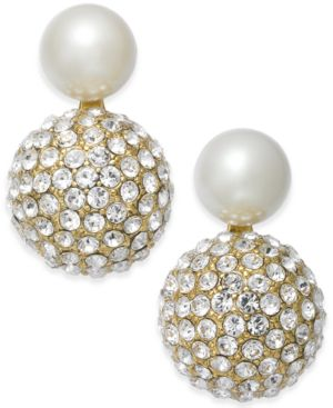 Flying Colors Pave Double Bauble Earrings in Gold