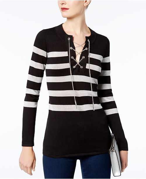 ceff1dd779 Michael Kors Chain Lace-Up Sweater   Reviews - Sweaters - Women ...