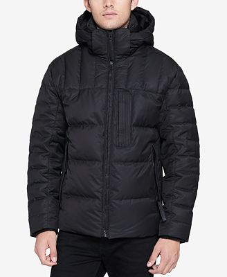 Andrew Marc Men's Breuil Quilted Full-Zip Puffer Parka with Removable Space-Blanket Bib