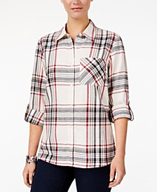 Petite Cotton Tab-Sleeve Plaid Shirt, Created for Macy's