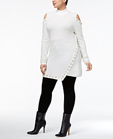 Belldini Plus Size Cold-Shoulder Sweater Tunic