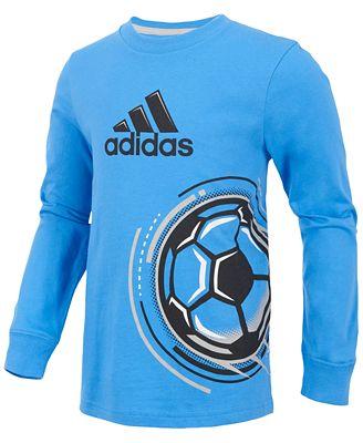 adidas calcio graphic print camicia di cotone, sui ragazzi di camicie