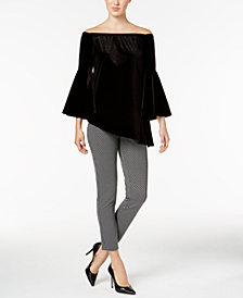 NY Collection Velvet Off-The-Shoulder Top & ECI Pull-On Straight-Leg Pants