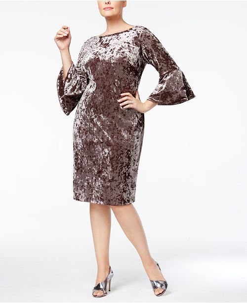 81106de406b Calvin Klein Plus Size Crushed Velvet Bell-Sleeve Dress   Reviews ...