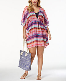 Bleu by Rod Beattie Plus Size Dream Weavers Caftan Cover-Up