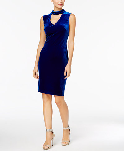 Calvin Klein Velvet Choker Sheath Dress