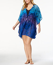 Bleu by Rod Beattie Plus Size Island Heat Ombré Palm-Print Caftan Cover-Up