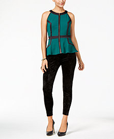 Thalia Sodi Zip-Front Peplum Top & Velvet Leggings, Created for Macy's