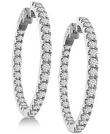 Diamond In And Out Hoop Earrings 3 Ct T W 14k White Gold