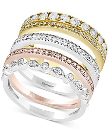 Trio by EFFY® Diamond 4-Pc. Set Stack-Look Rings (1 ct. t.w.) in 14k Gold, White Gold & Rose Gold