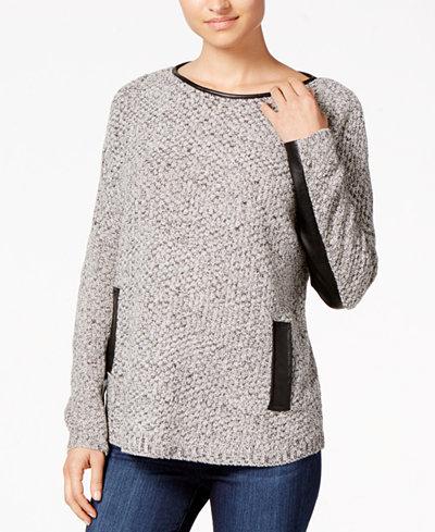 BCX Juniors' Faux-Leather-Trim Sweater