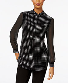 Anne Klein Sheer Dot-Print Blouse