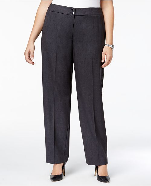 173eb4dabb4 Calvin Klein Plus Size Wide-Leg Dress Pants   Reviews - Pants ...