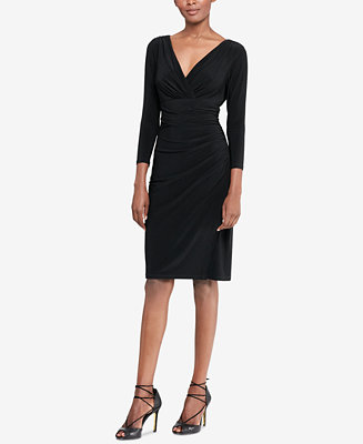 Lauren Ralph Lauren Long Sleeve Faux Wrap Sheath Dress