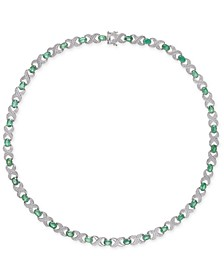 "Emerald (17 ct. t.w.) & Diamond Accent Collar 18"" Necklace in Sterling Silver"