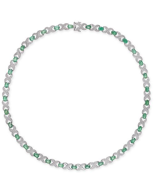 """Macy's Emerald (17 ct. t.w.) & Diamond Accent Collar 18"""" Necklace in Sterling Silver"""