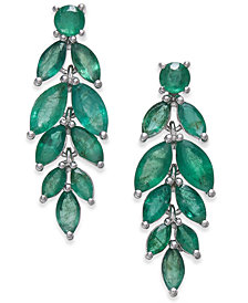 Emerald Vine-Inspired Drop Earrings (5-1/4 ct. t.w.) in Sterling Silver