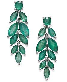 Emerald Vine-Inspired Drop Earrings (5-1/4 ct. t.w.) in Sterling Silver