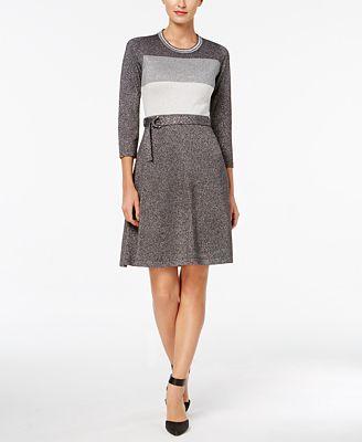 Calvin Klein Belted Metallic Colorblocked Sweater Dress