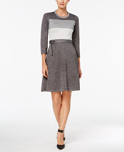 Calvin Klein Belted Metallic Colorblocked Sweater Dress