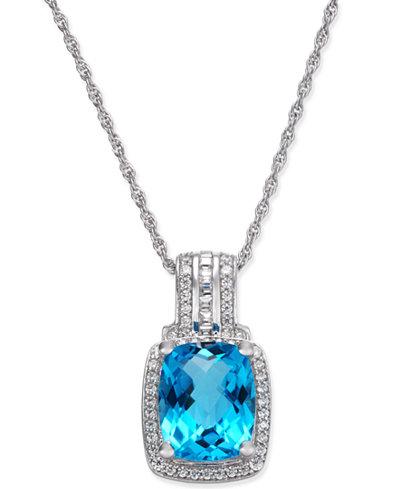 Blue Topaz (2-1/3 ct. t.w.) & Diamond (1/5 ct. t.w.) Pendant Necklace in 14k White Gold
