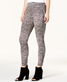 Bar III Chevron-Print Mid-Rise Leggings, Created for Macy's