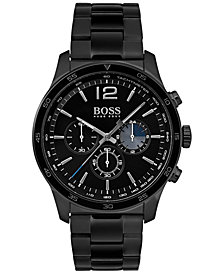 BOSS Hugo Boss Men's Chronograph Professional Black Stainless Steel Bracelet Watch 42mm