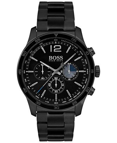 BOSS Hugo Boss Men's Chronograph Professional Black Stainless Steel Bracelet Watch 42mm