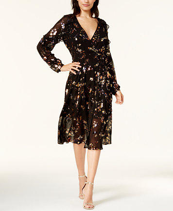 Image 1 Of Rachel Roy Printed Mesh Wrap Dress