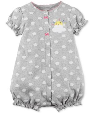 Carter's Clouds Cotton Romper, Baby Girls thumbnail
