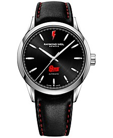LIMITED EDITION  Men's Swiss Automatic Freelancer David Bowie Black Leather Strap Watch 42mm, a Limited Edition