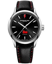 RAYMOND WEIL Men's Swiss Automatic Freelancer David Bowie Black Leather Strap Watch 42mm, a Limited Edition