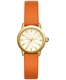 Tory Burch Women's Gigi Orange Leather Strap Watch 28mm
