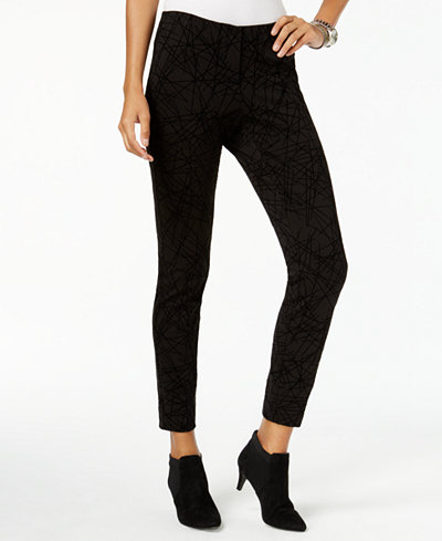 Alfani Petite Abstract-Print Skinny Pants, Created for Macy's